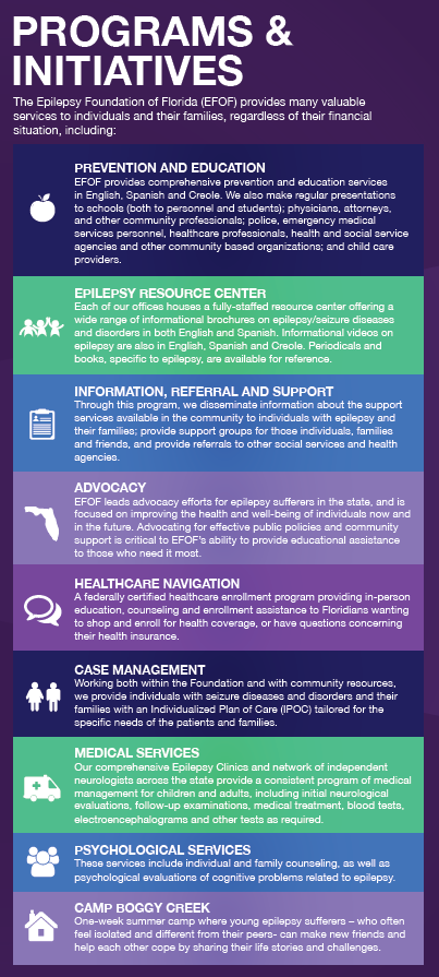 EFOF serves as the lead advocate for the rights and needs of people with  epilepsy and seizures at the local, county and state level.